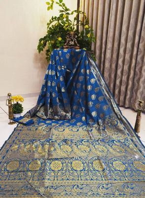 Beautiful Banarasi Silk Cotton Jacquard Saree with Blouse piece