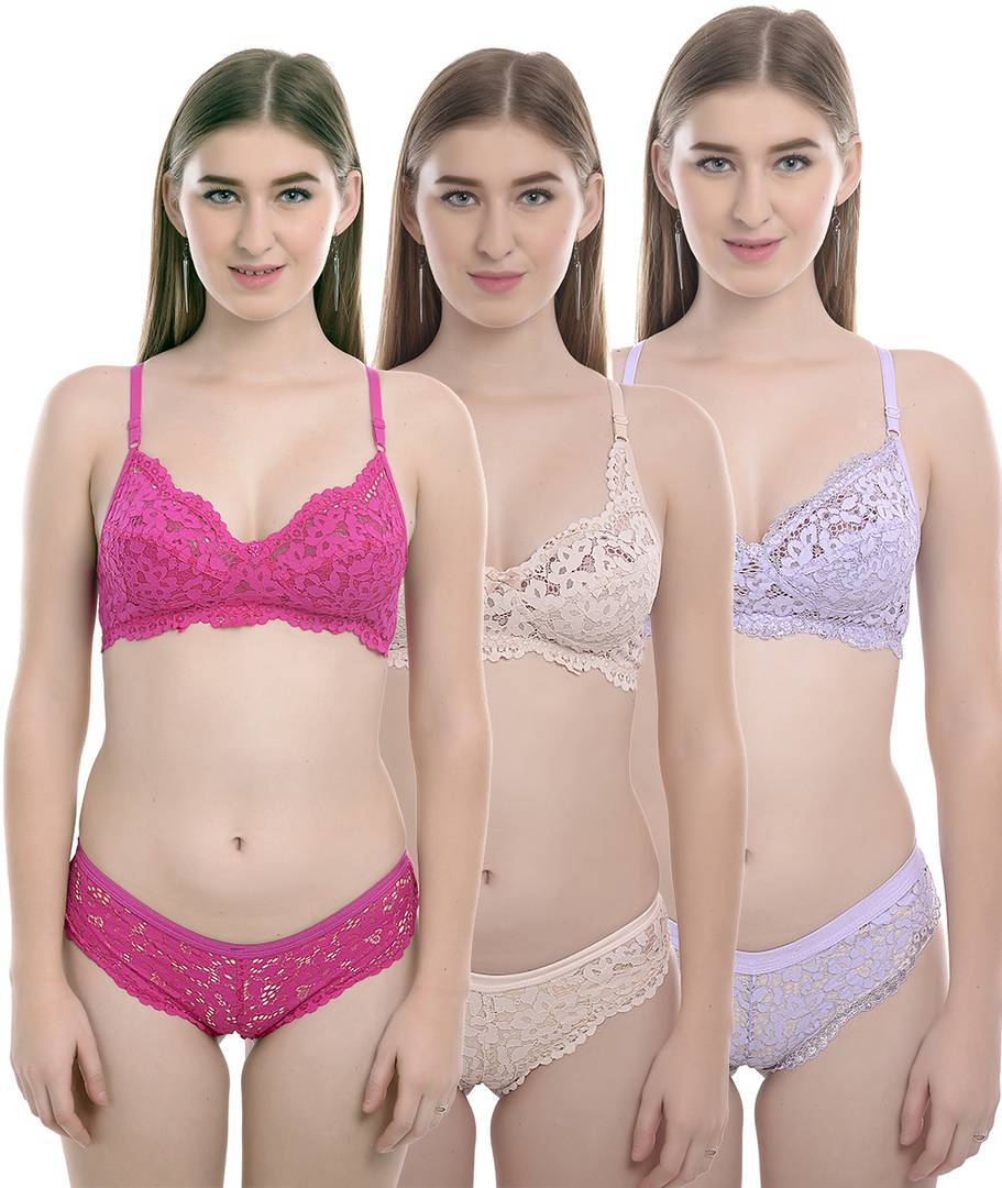 Women's Trendy Multicoloured Cotton Self Pattern Lingerie Set