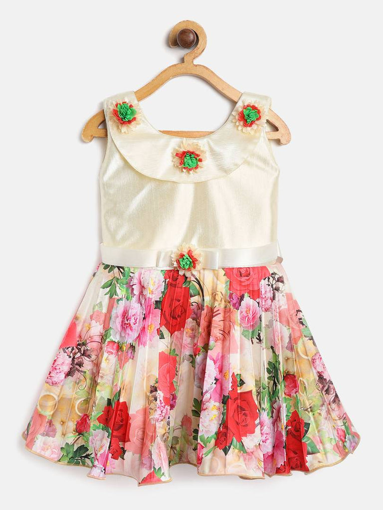 Girls Printed Red Blended Frocks - Zoopershop.com