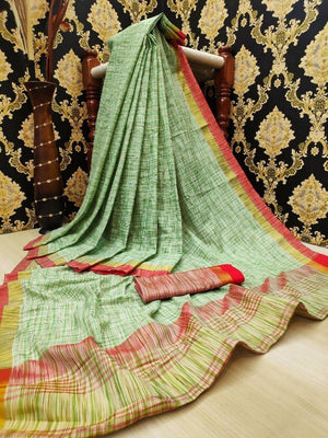 Attractive Khadi Silk Checked Saree with Blouse piece
