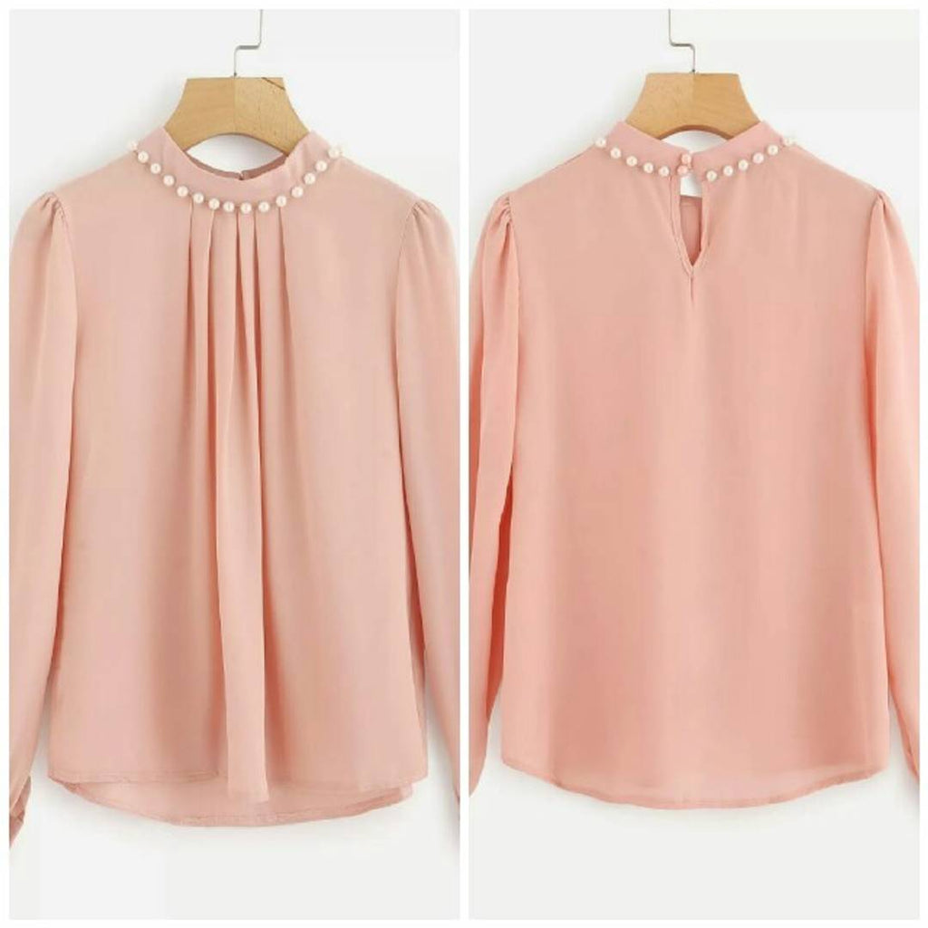 Trendy Crepe Solid Blouse Top - Zoopershop.com