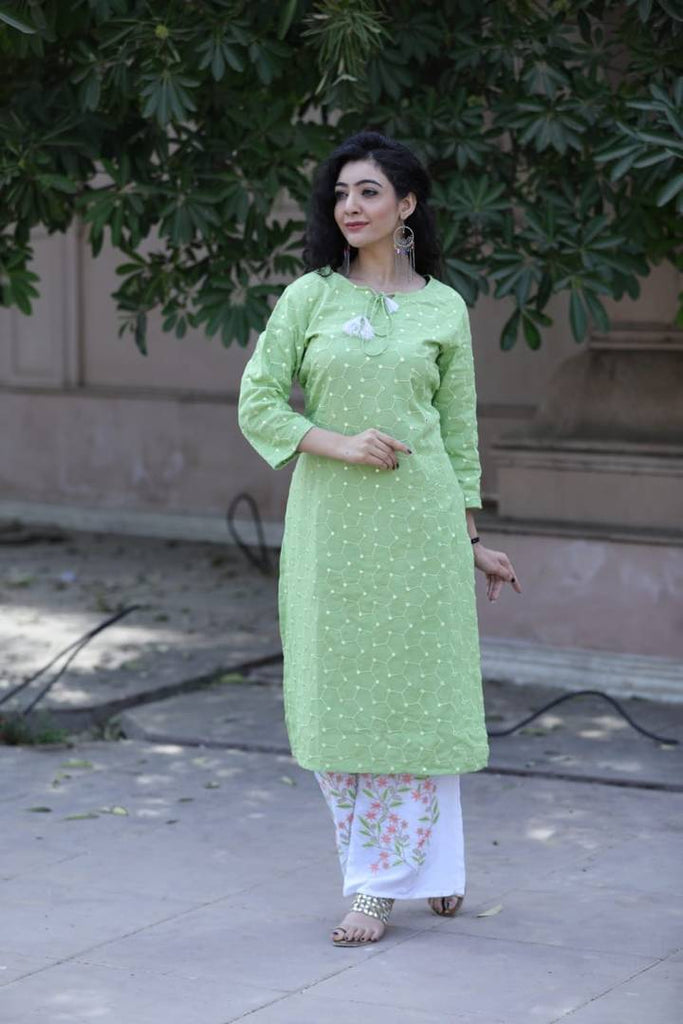 Reliable Green Printed Rayon Kurti Palazzo Set
