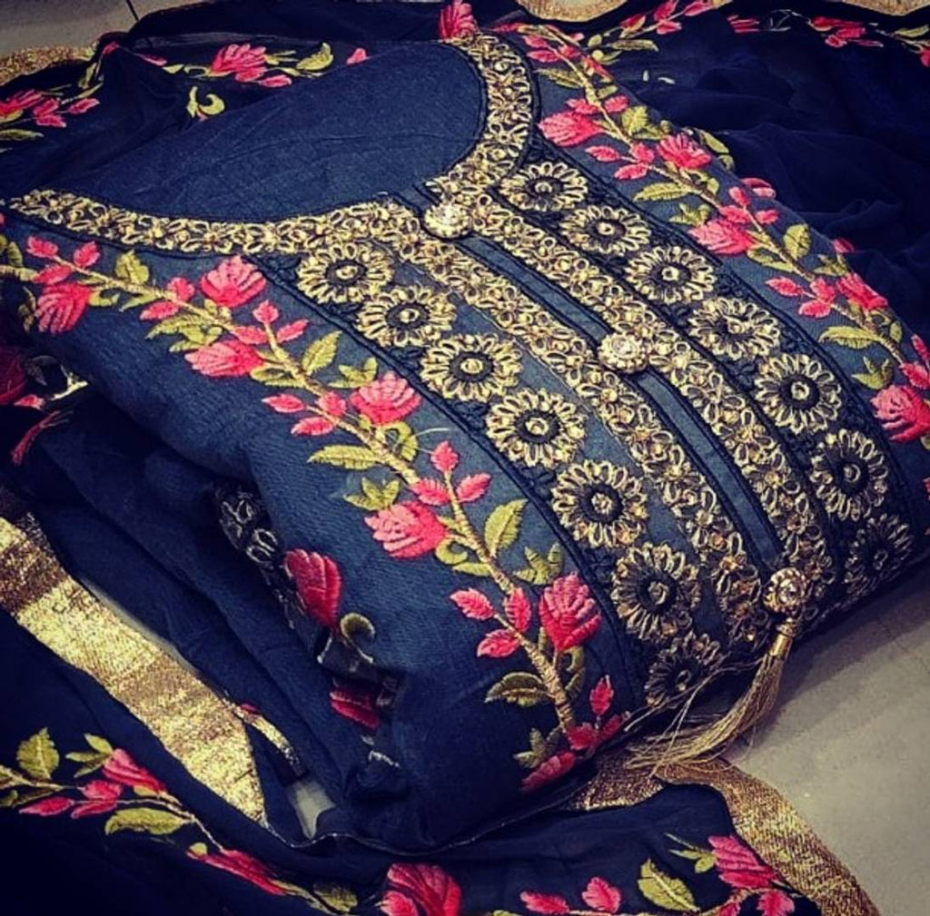 Trendy Chanderi Dress Material With Dupatta Set