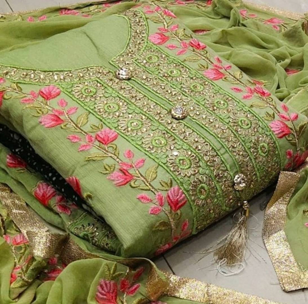 Trendy Chanderi Dress Material With Dupatta