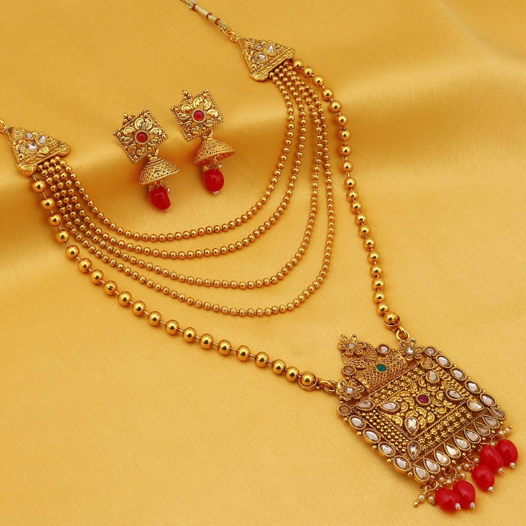 Classic Gold Plated Long Haram Necklace Set For Women