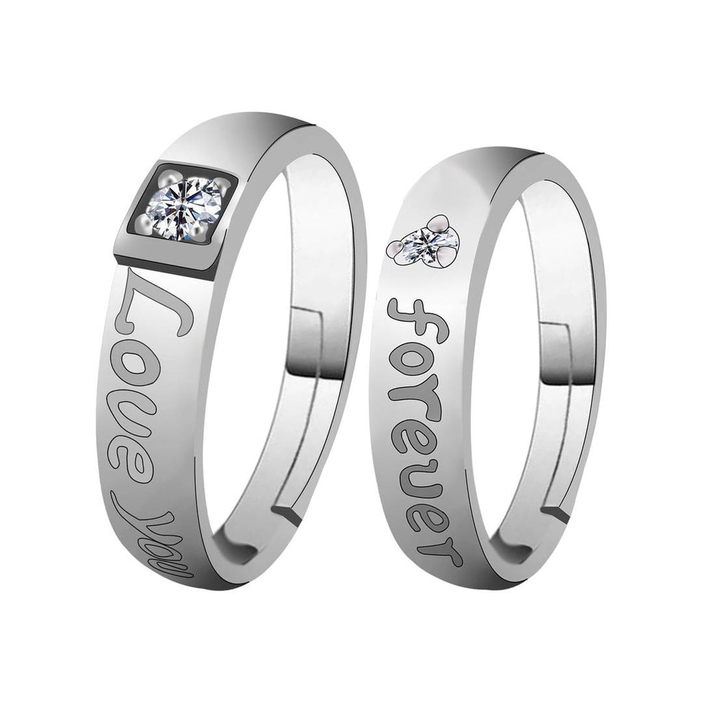 Silverplated Elegant Love  Solitaire His And Her Adjustable Proposal Diamond Couple Ring For Men And Women Jewellery