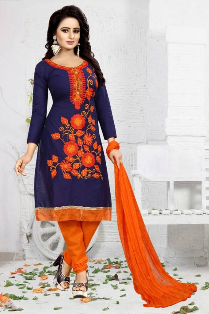Latest Attractive Cotton Embroidered Dress Material with Dupatta