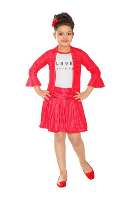 Girls Party(Festive) Top Skirt  (Multicolor)