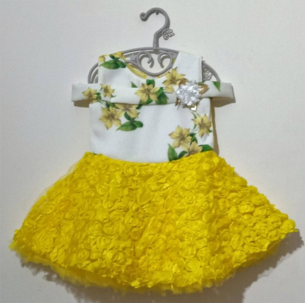 Yellow 3D Flowery Dress - Zoopershop.com