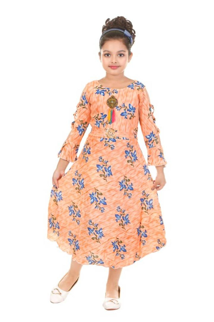 THE CROWN FLOWER PRINT CREAM OFF SOLDER FROCK FOR BEAUTIFUL BABY GIRLS - Zoopershop.com