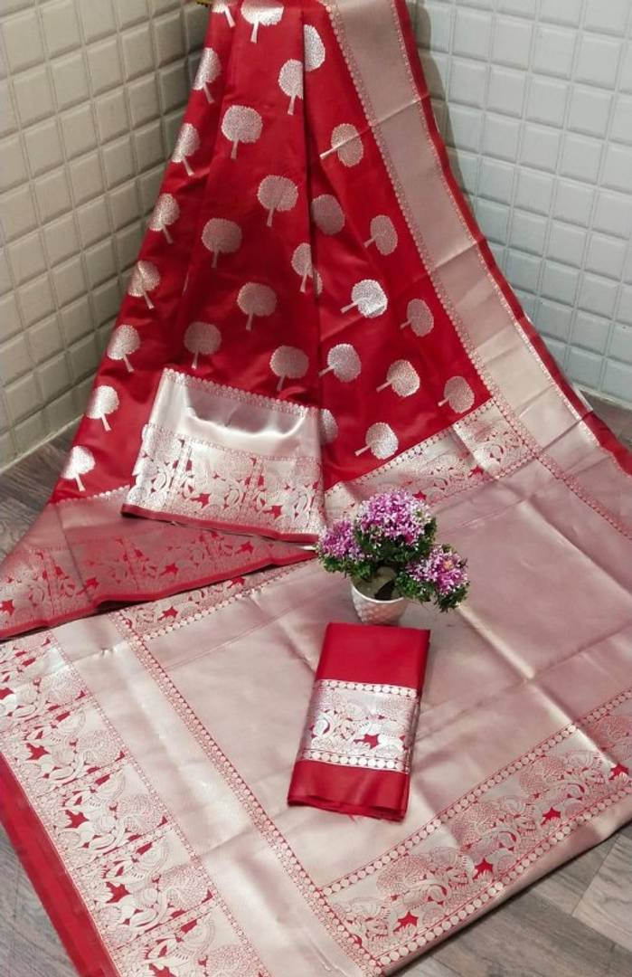 Red Color Beautiful Art Silk Jacquard Saree with Blouse piece