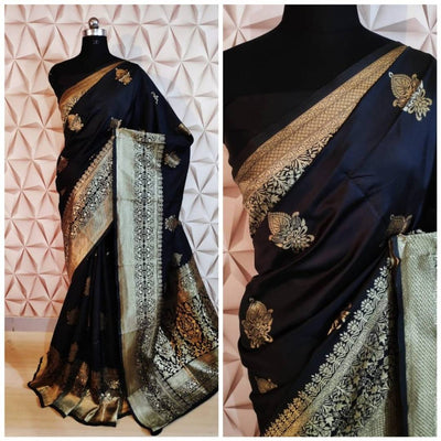 Beautiful Black Color Cotton Silk Jacquard Saree with Blouse piece
