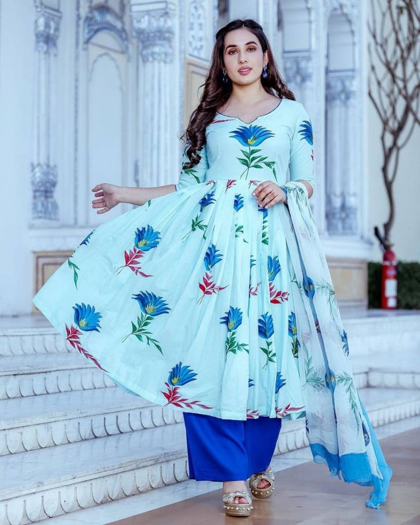 Stylish Rayon Printed Kurta With Palazzo And Dupatta Set