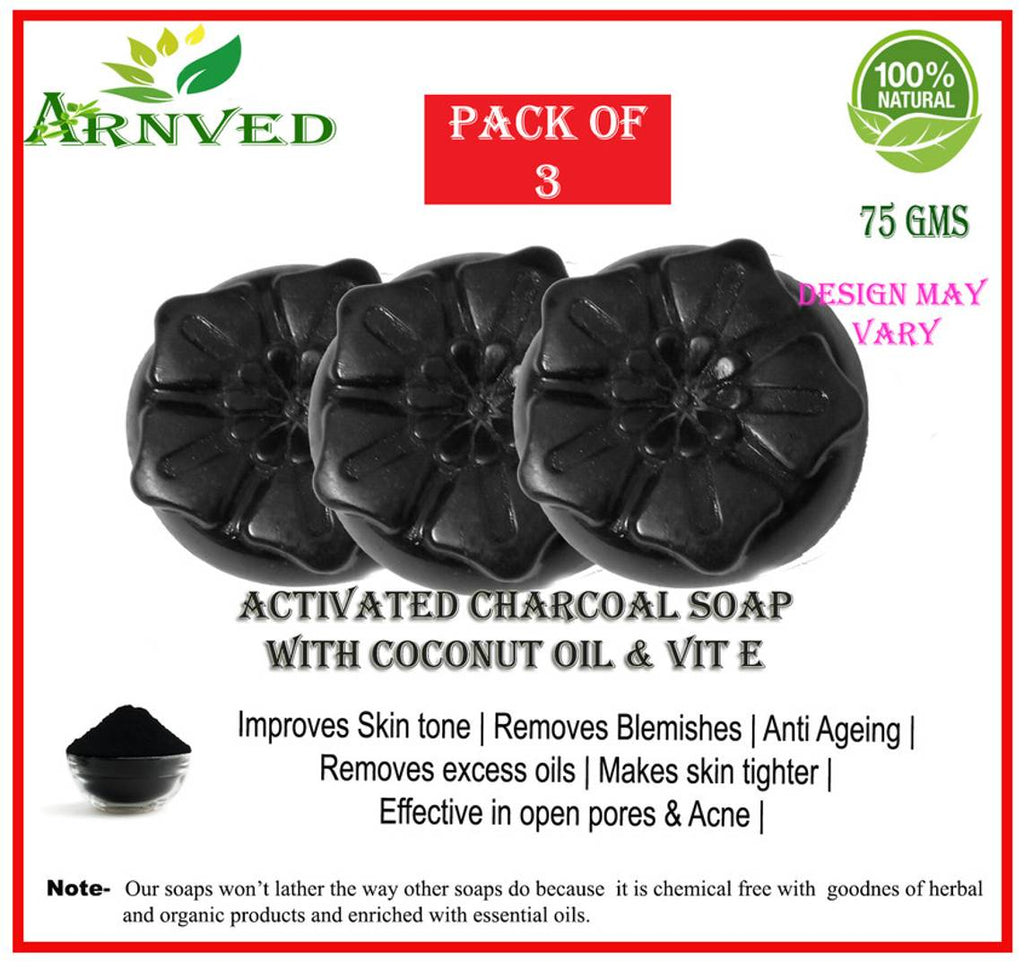 Arnved Activated Charcoal Soap - Pack Of 3