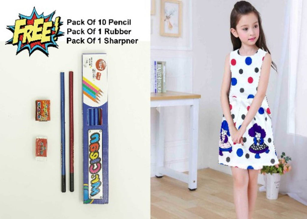 Girl's Printed Frock With Free Pencil Set - Zoopershop.com