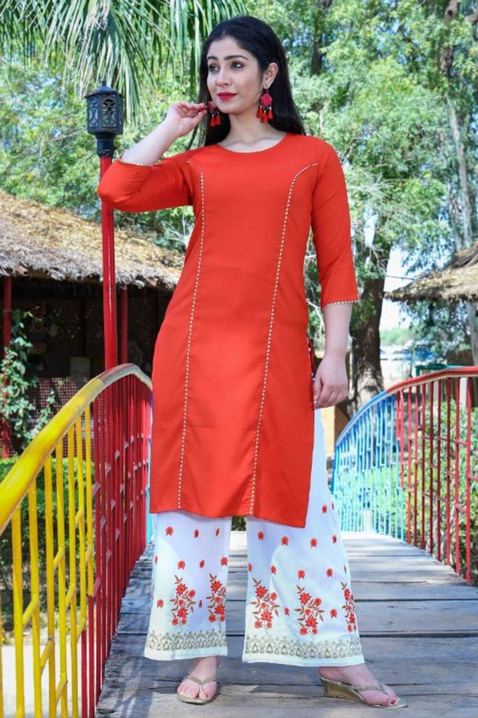 Rayon Two Tone Kurta With Embroidery Palazzo Set