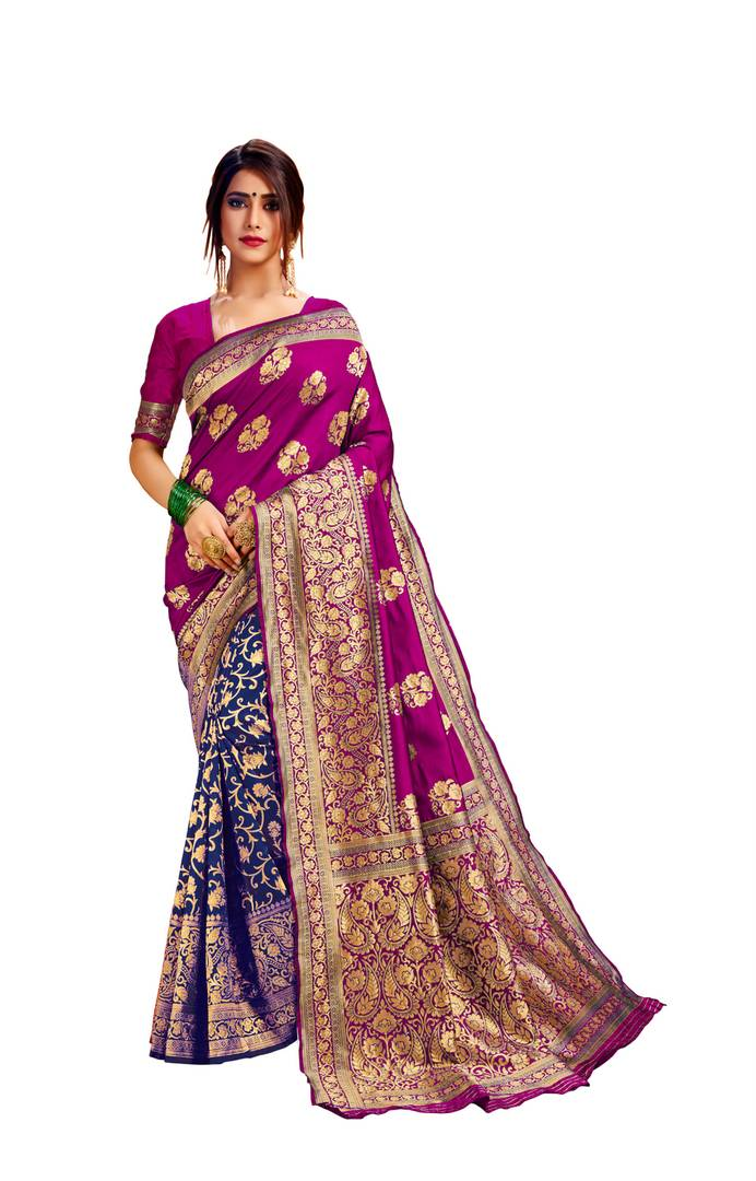 Women's Multicoloured Jacquard Art Silk Saree with Blouse piece