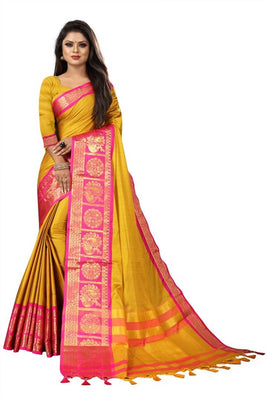 Beautiful Golden Color Soft Cotton Silk Saree With Blouse Piece