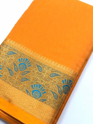Beautiful Golden Color Cotton Silk Saree with Blouse piece