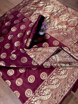 Women Maroon Color Art Silk Jacquard Saree with Blouse piece