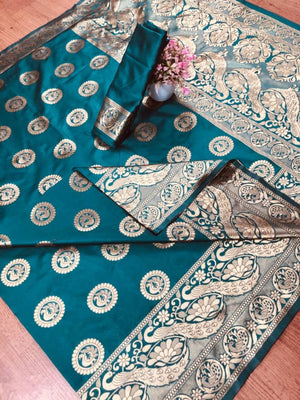 Women Turquoise Color Art Silk Jacquard Saree with Blouse piece