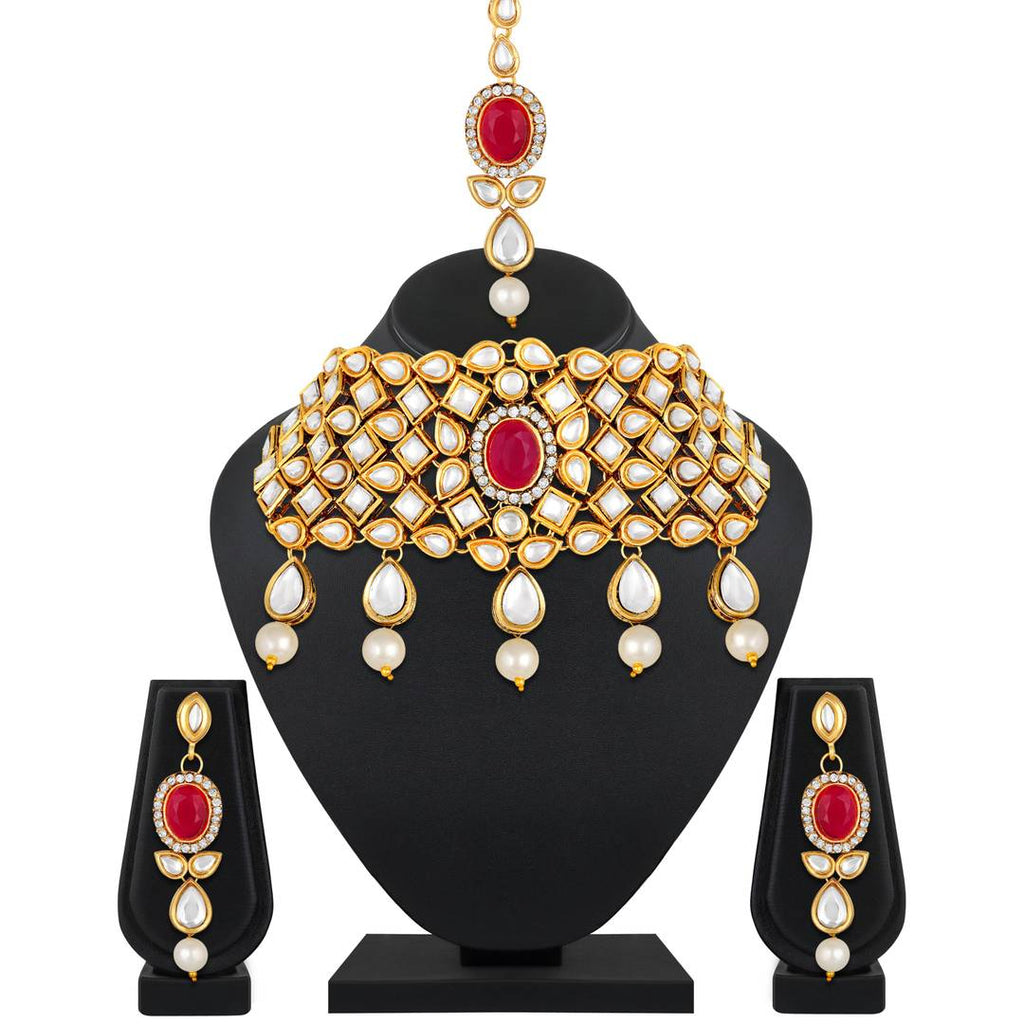 Fashionable Kundan Studded Gold Plated Collar Necklace Set For Women