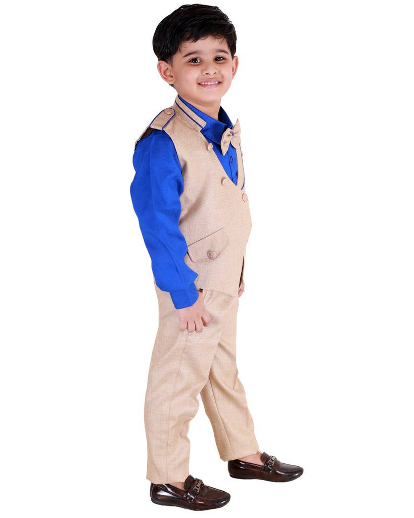 3 Piece Suit Set with Bow-Tie, Shirt, Trousers and Waistcoat for Kids and Boys - Zoopershop.com