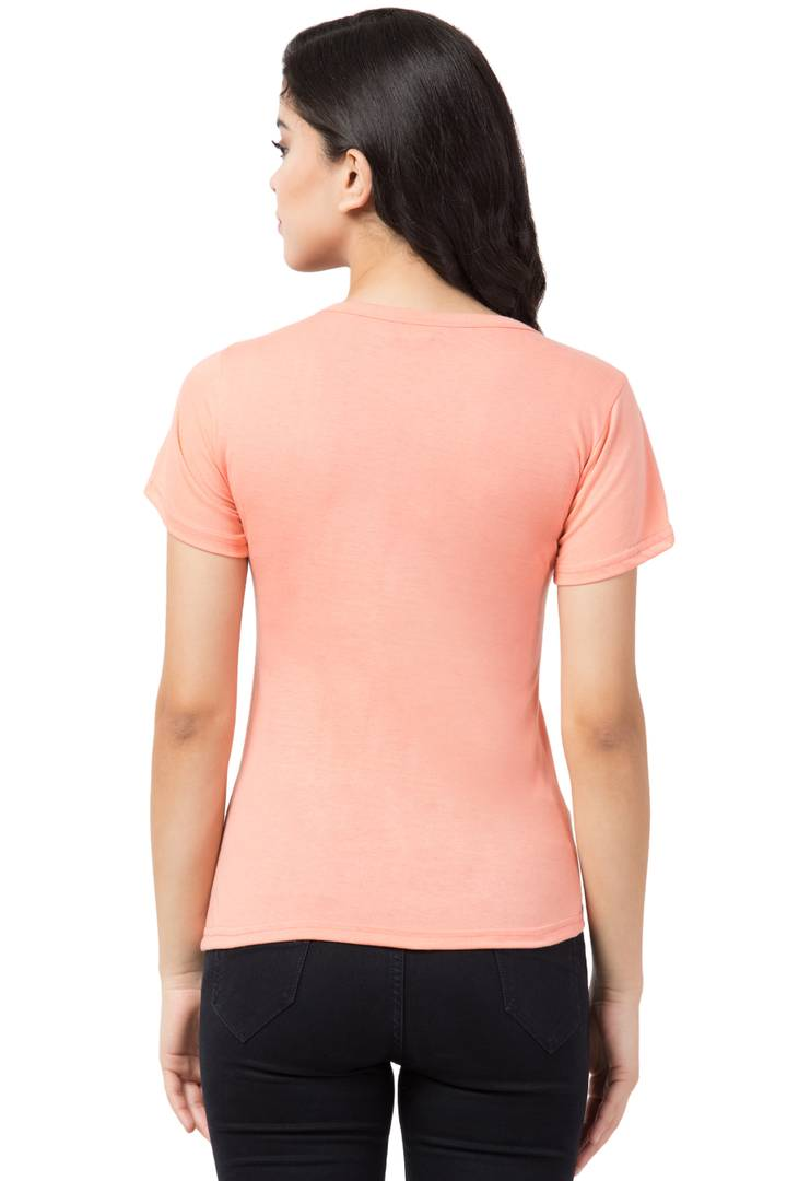 Fashionable Orange Cotton Blend Printed T-Shirt For Women - Zoopershop.com