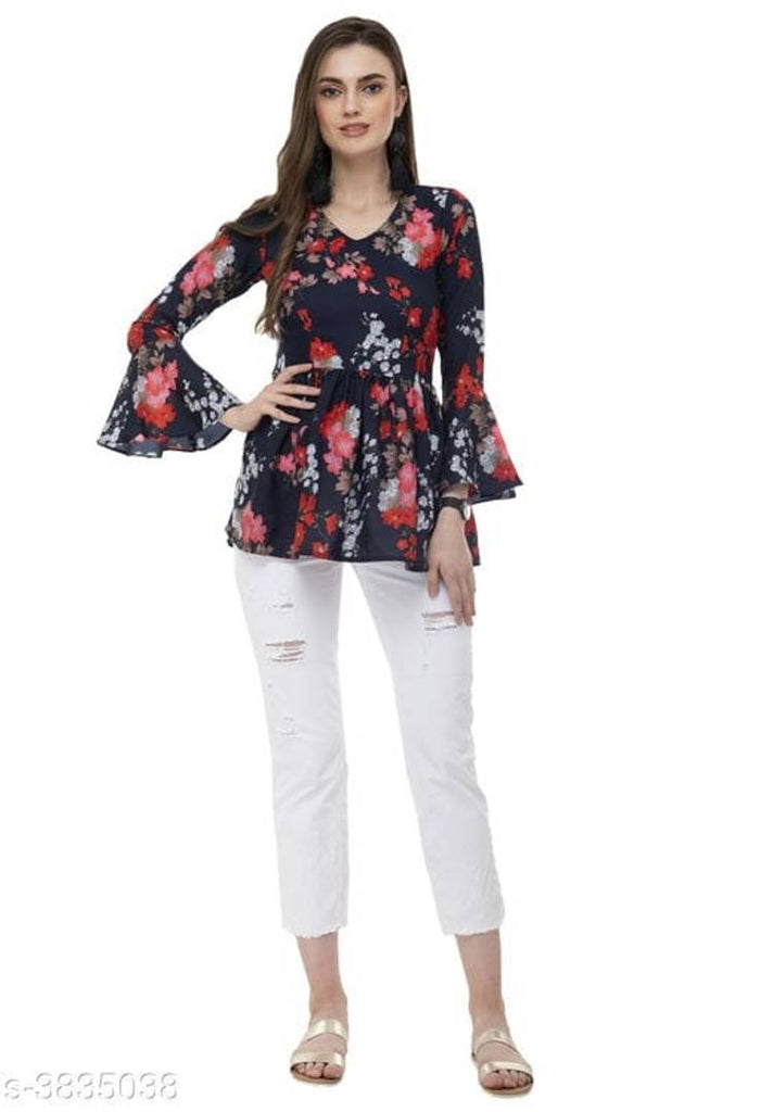 Modern Navy Blue Crepe Printed Top For Women - Zoopershop.com