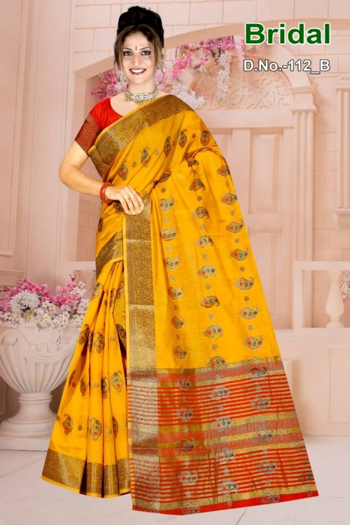 Beautiful Yellow Color Cotton Silk Saree with Blouse piece