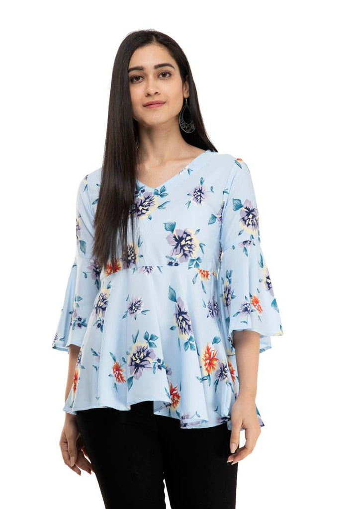 Beautifull Polycrepe Flared Sleeve Women Top - Zoopershop.com