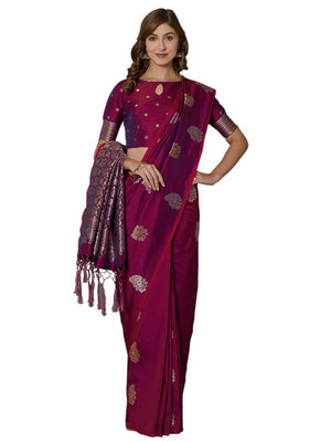 Magenta Festive Wear Banarasi Silk Blend Woven Border Saree With Unstitched Blouse