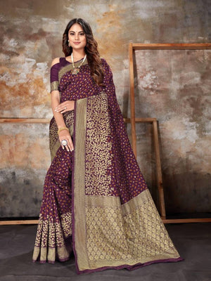 Beautiful Art Banarasi  Silk Saree with Blouse piece