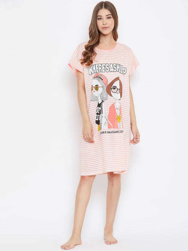 Trendy Cotton Printed Short Nighty For Women
