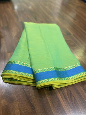 Banarasi Green Color Cotton Silk Saree with Blouse piece