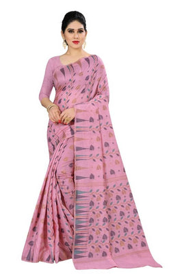 Beautiful Magenta Color Cotton Silk Saree with Blouse piece