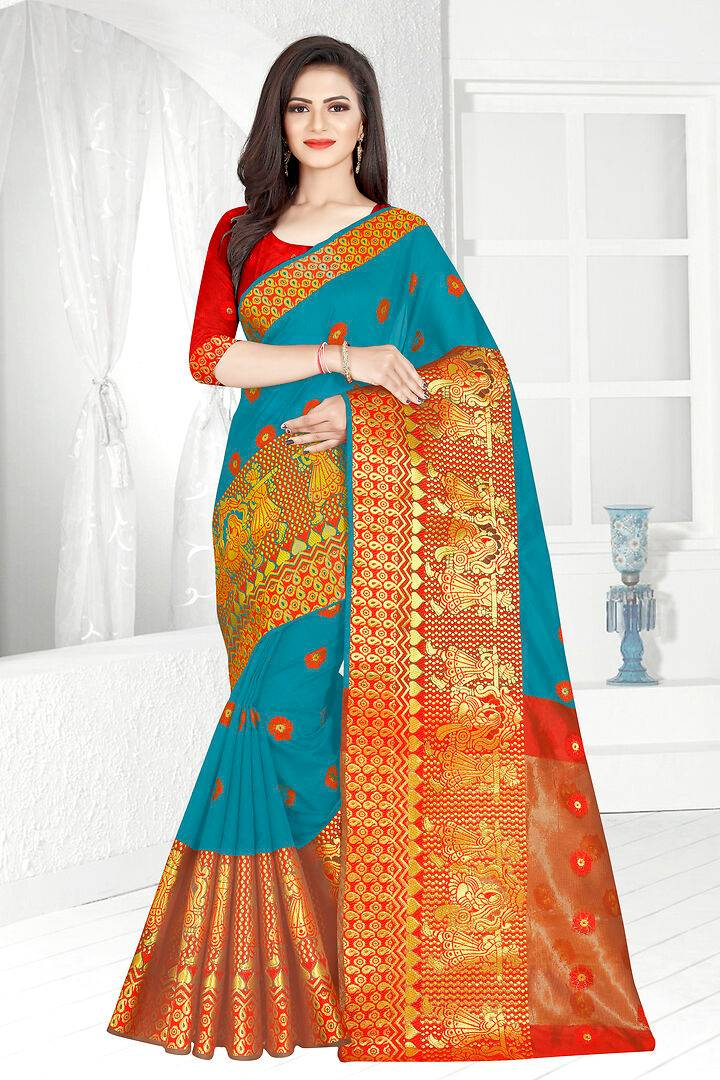 Self Design Banarasi Jacquard Border Kanjeevaram Cotton Blend Saree With Blouse Piece