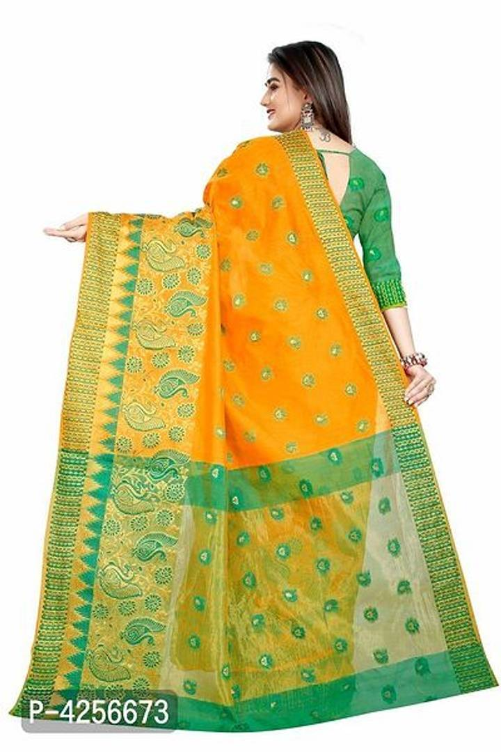 Self Design Banarasi Jacquard Border Golden Color Cotton Blend Saree With Blouse Piece
