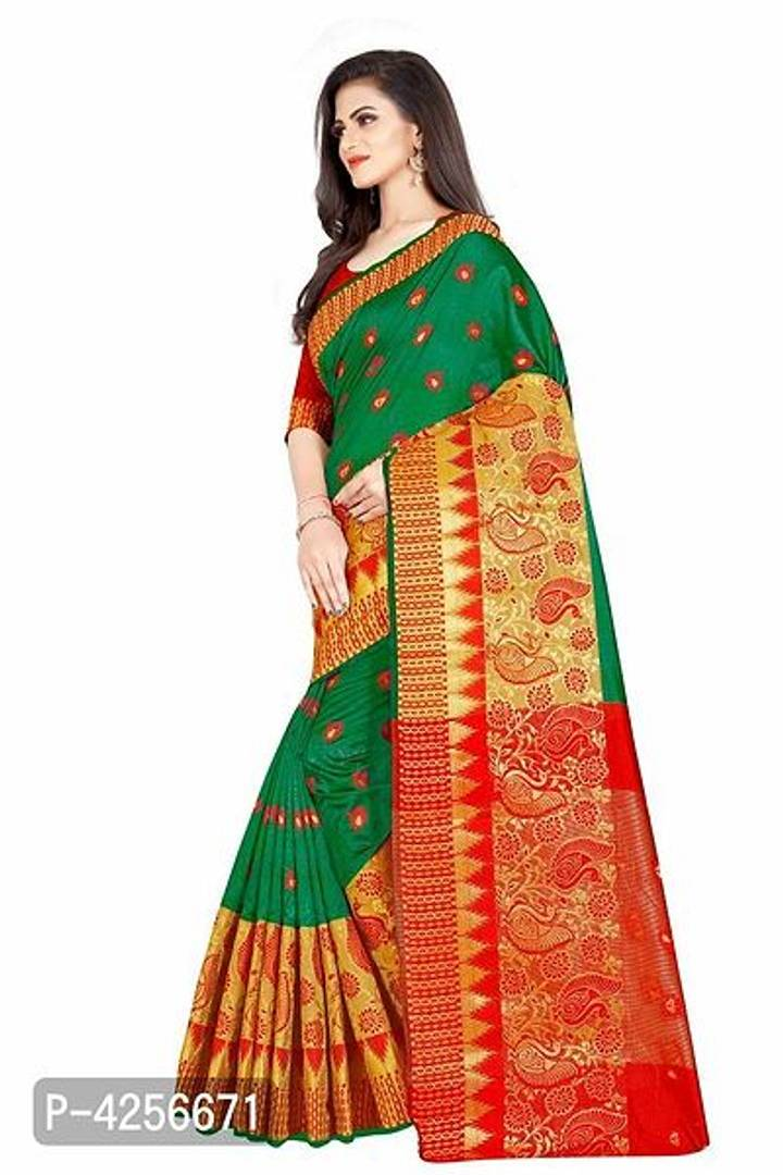 Self Design Green Color Banarasi Jacquard Border Cotton Blend Saree With Blouse Piece