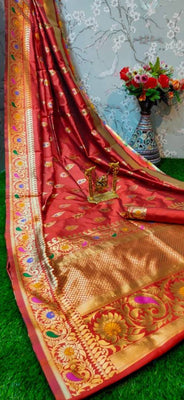 Beautiful Cotton Banarasi Silk Jacquard Saree with Blouse piece