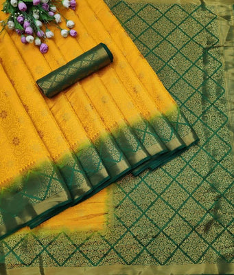 Banarasi Silk Saree with Designer Jari Weaving Heavy Pallu And Blouse Piece