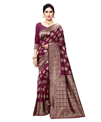 Beautiful Magenta Color Silk Blend Saree with Blouse piece