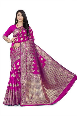 Attractive Banarasi Silk Saree With Blouse Piece