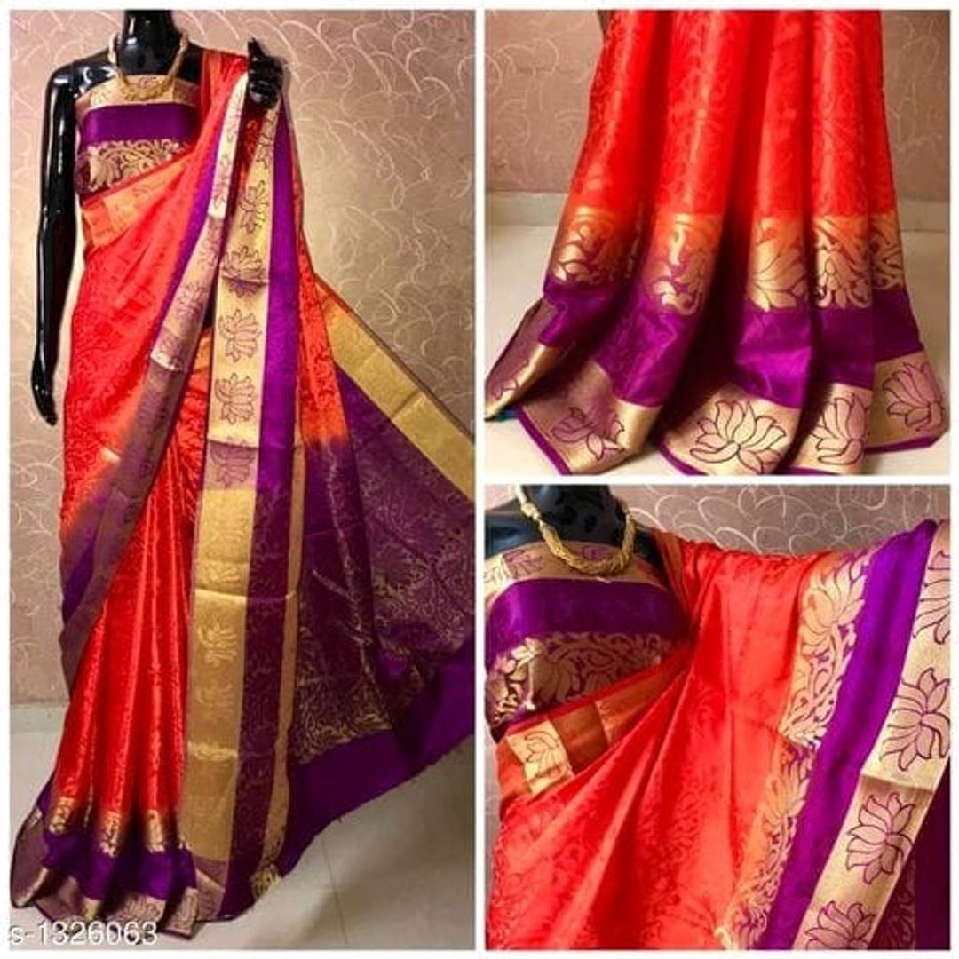 Women's Fancy Peach Color Art Silk Banarasi Saree With Blouse Piece