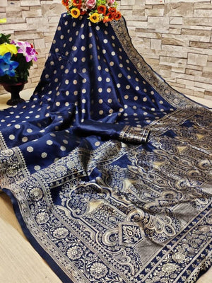 Attractive Navy Blue Color Art Silk Jacquard Saree with Blouse piece