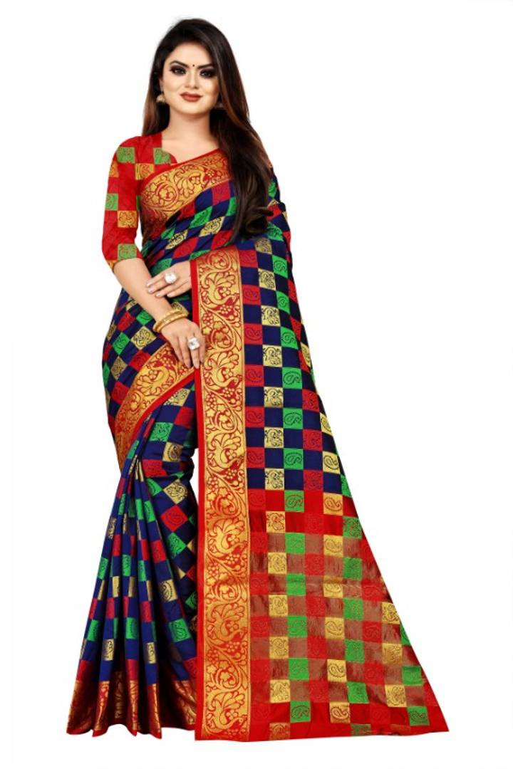 Women's Beautiful Art Banarasi Silk Saree with Blouse Piece
