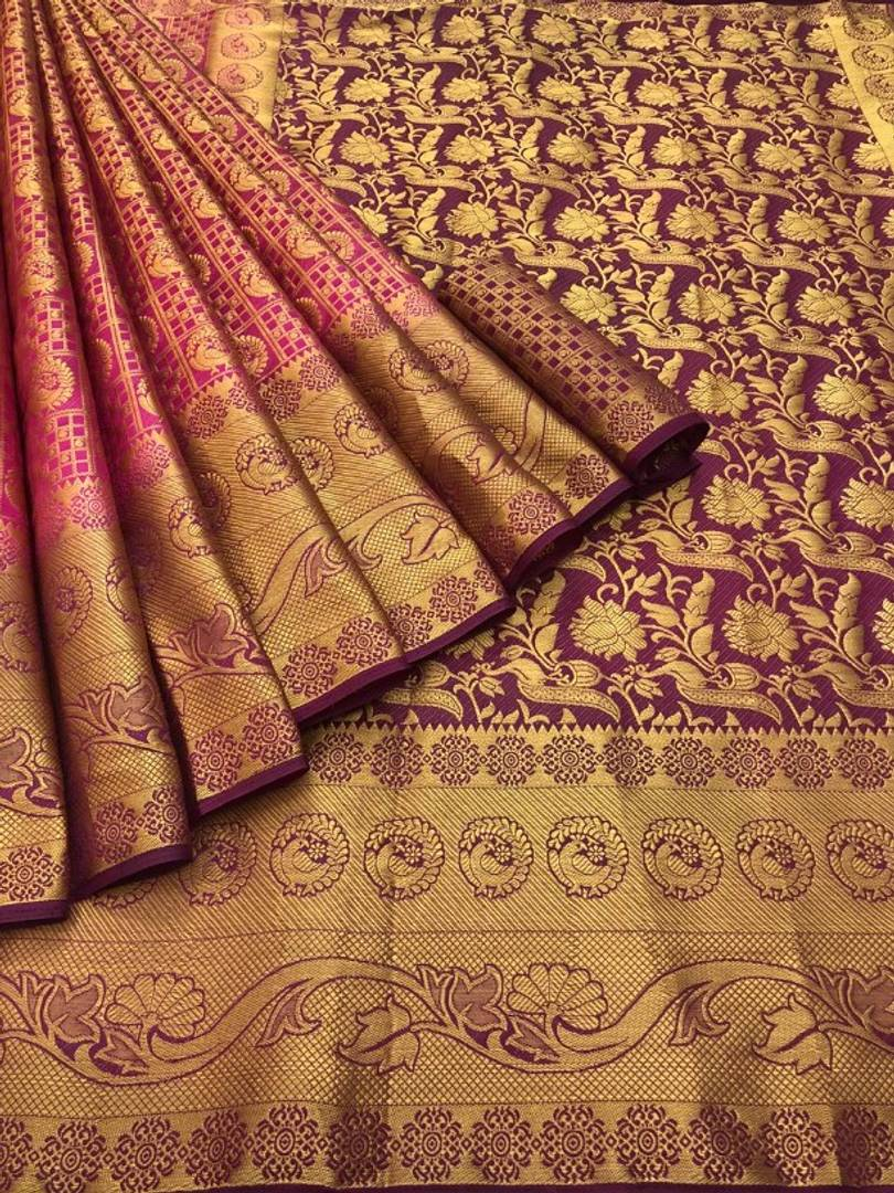 Exclusive Pink Color Wedding Collection Banarasi silk saree with Brocket Blouse