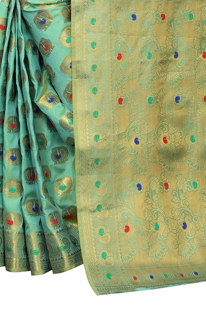 Designer Green Cotton Banarasi Silk Woven Design Saree With Blouse Piece