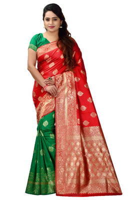 Beautiful Banarasi Silk Blend Saree with Blouse piece