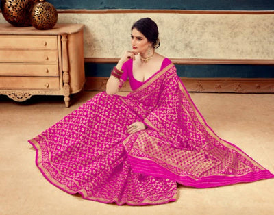 Beautiful Art Silk Pink Color Saree with Blouse piece